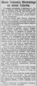 """Miciński Mowa na wiecu Tatarów""""Ilustrowany Kurier Codzienny"""" 1917, nr 159. (1)"""
